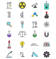 Color science icons set vector image