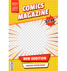 comic book cover page empty template mockup design vector image
