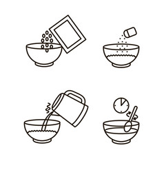 cooking instruction oatmeal black thin line icon vector image