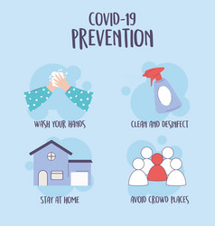 Covid 19 pandemic infographic tips prevention vector