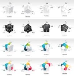 Cube infographic template sets 16 in 1 vector