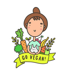 Cute funny girl with rabbit go vegan vector