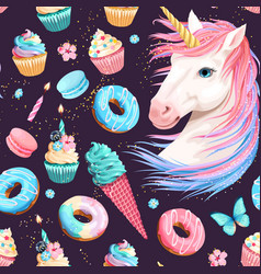 cute unicorn and sweets seamless pattern vector image
