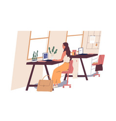 cute woman sitting at desk and working on laptop vector image