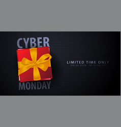 cyber monday sale banner with gifts binary code vector image