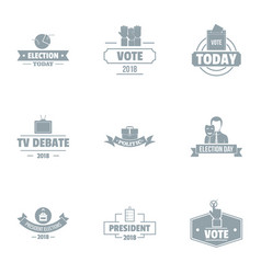 Debate logo set simple style vector