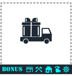 Delivery gift icon flat vector