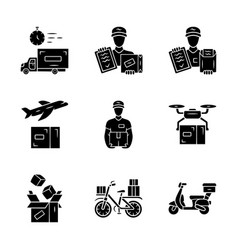 delivery glyph icons set plane drone express vector image