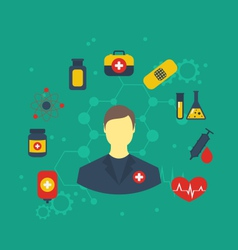 doctor with medical icons for web design modern vector image vector image