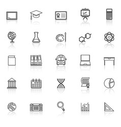 education line icons with reflect on white vector image