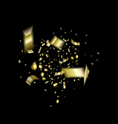 Explosion gold confetti in center vector