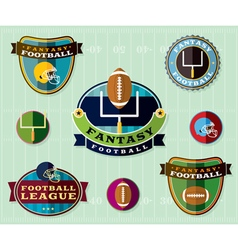 fantasy football set icons and badges vector image