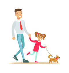 father with his daughter walking with their small vector image