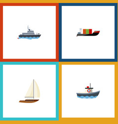 flat icon boat set of tanker ship transport and vector image