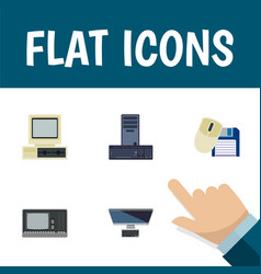 Flat icon computer set of processor pc computer vector