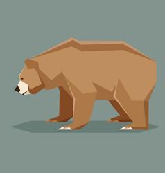 Flat polygonal brown bear vector