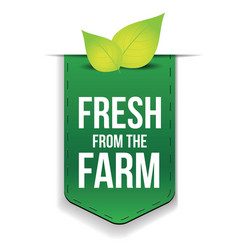 Fresh from the Farm ribbon with leaf vector