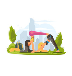 girls practice yoga in park vector image vector image