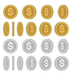 gold and silver coins with different rotation vector image