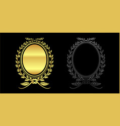 Gold color and out line leaves frame vector