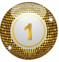 Gold disco bingo ball vector