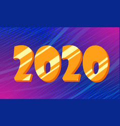 golden 2020 new year blue background vector image