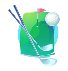 Golf clubs and flying ball over field with flag vector