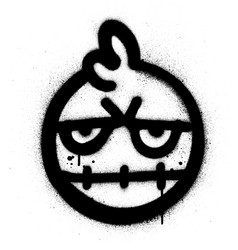 Graffiti naughty monster icon sprayed in black vector