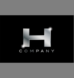 H silver metal letter company design logo vector