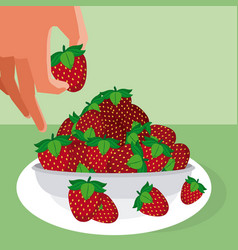 Hand grabbing strawberries vector