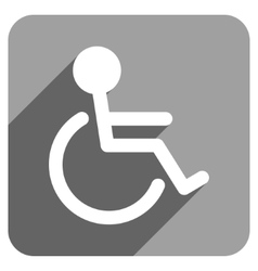 Handicapped Flat Square Icon with Long Shadow vector image