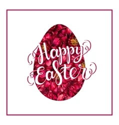 Happy Easter lettering on red flower egg vector