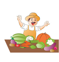 Happy vegetable seller vector