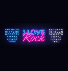 i love rock neon text rock music neon sign vector image