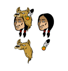 Indian and wolf head cover vector