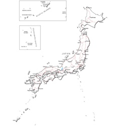 Japan Black White Map vector image