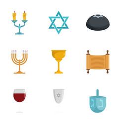 jewish icon set flat style vector image