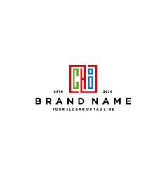 Letter chi square colorful logo design vector