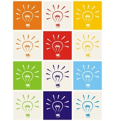 Light bulb hand drawn colorful icon set isolated vector