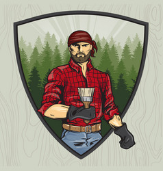 Lumberjack with a brush manual rendering style vector
