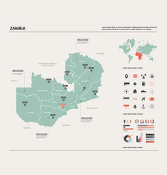 Map zambia high detailed country map with vector