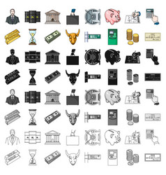 Money and finance set icons in cartoon style big vector