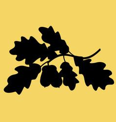oak branch silhouette vector image