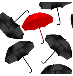 opened red and black umbrellas on white background vector image