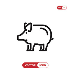 outline pig icon isolated on white background vector image