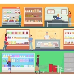 People shopping in a supermarket concept set vector image