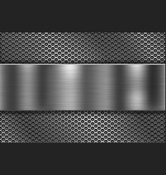 Perforated background with long metal shiny plate vector