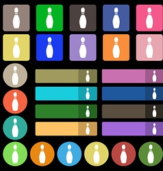 Pin bowling icon sign Set from twenty seven vector