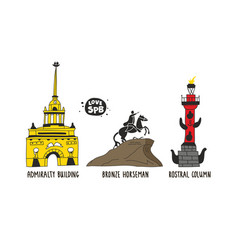 Places interest in saint petersburg russia vector