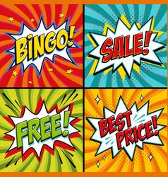Pop-art web banners bingo free sale best price vector